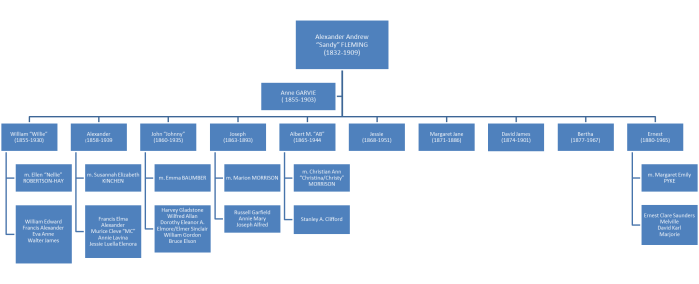 "Alexander Andrew ""Sandy"" Fleming family tree"