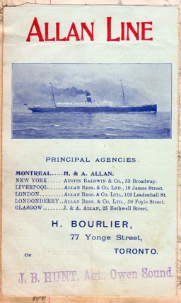 Cover of brochure for Allan Line obtained from the agent in Owen Sound