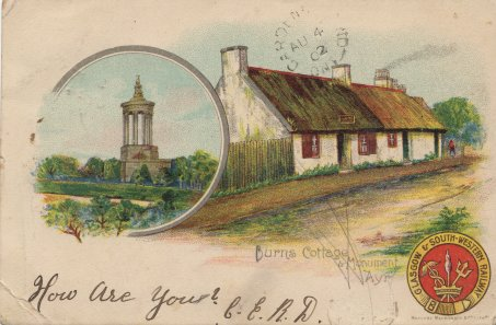 Postcard from Ayr showing Burns Cottage and Monument