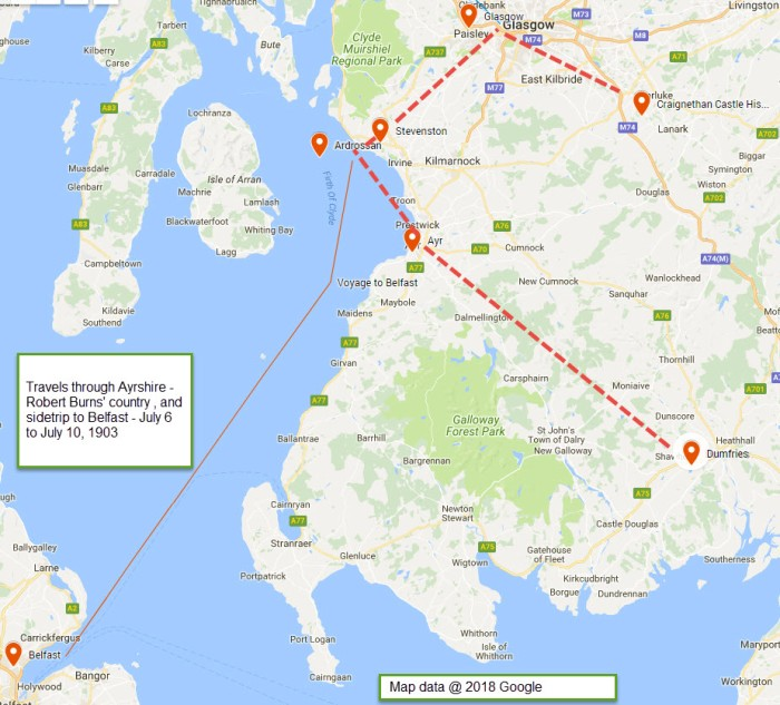Google Map - Fleming travels through Ayrshire July 6 to July 10, 1903