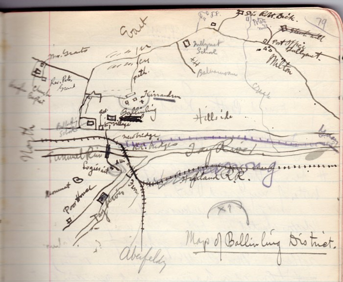 Hand drawn map of Ballinluig District by Roy Fleming in his travel journal