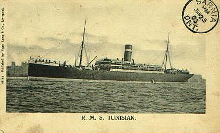 R.M.S. Tunisian - postcard postmarked Sarnia June 25, 2003