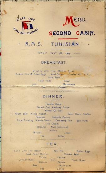 Menu card for Second Class - Sunday July 5th, 1903