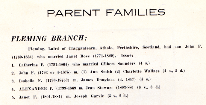 Extract from Fleming Reunion July 1927