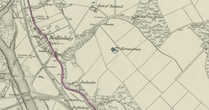 Ballinluig area showing Kirrandrum and Dalnabo. Source: Canmore - Ordnance Survey 1843-1882.