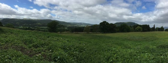 Panoramic view from the Fleming house of hills and Ben Vrackie