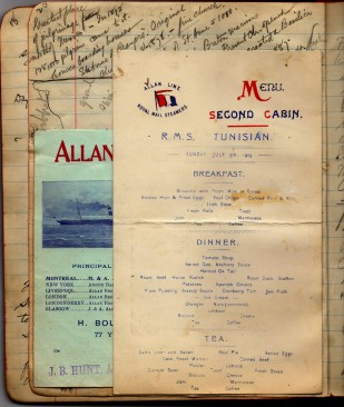 Page from Roy's 1903 travel diary showing the menu on the R.M.S. Tunisian