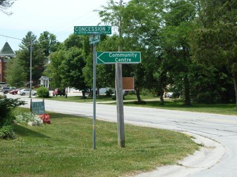 Main corner in the small village of Kilsyth, Georgian Bluffs, Grey County.