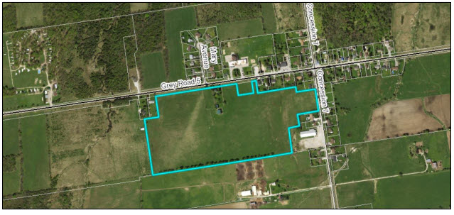 MAP - Airphoto of the area of the proposed Kilsyth subdivision. Source: Grey County Committee Report 8 Nov 2018 regarding Kilsyth Plan of Subdivision (Barry's Construction) 42T-2018-11