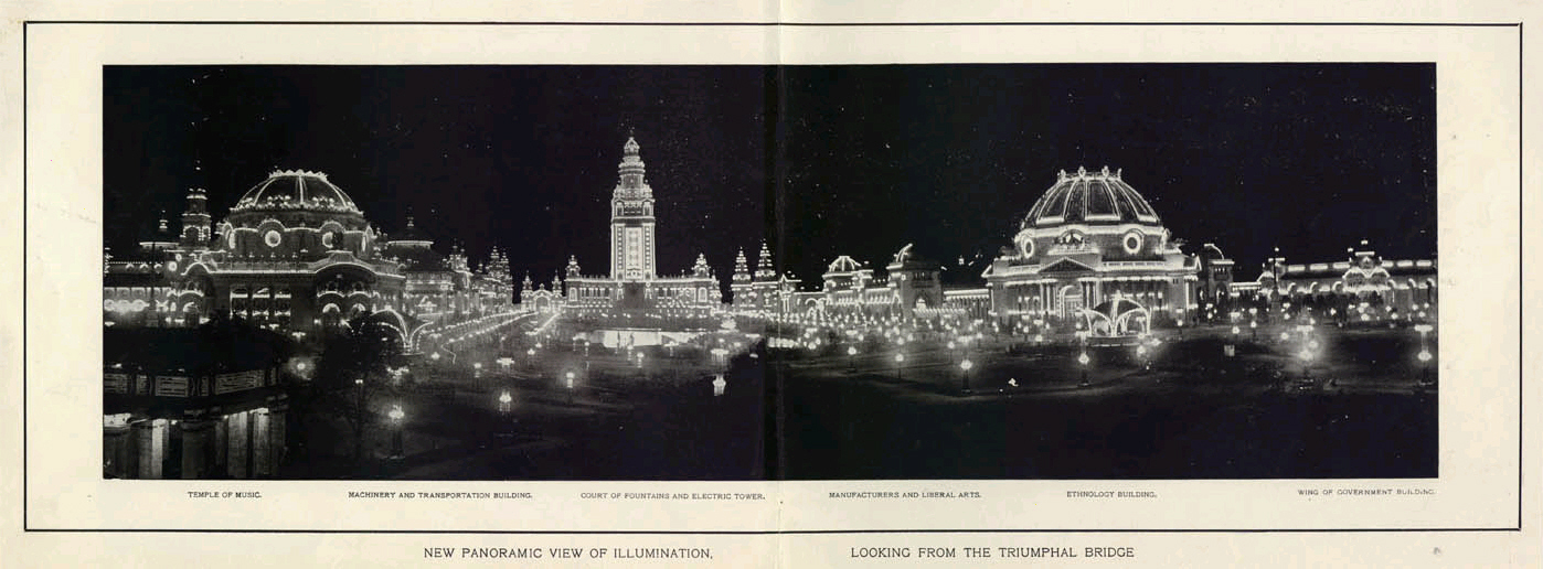 Photograph of the Pan Am Exposition of 1901 in Buffalo illuminated at night with latest technology for electrical wiring.