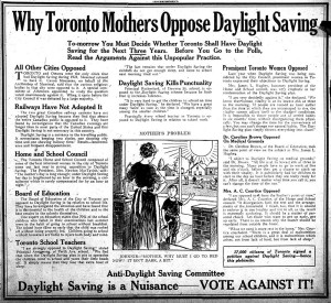 Why Toronto Mothers Oppose Daylight Savings - 1923 - vintage ad